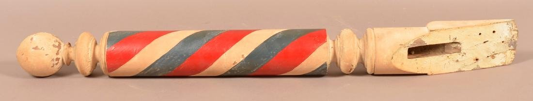 Vintage Turned and painted Wood Barber Pole. - 2