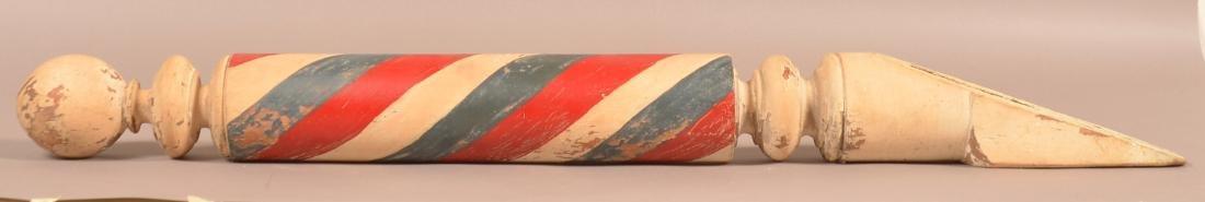 Vintage Turned and painted Wood Barber Pole. - 3
