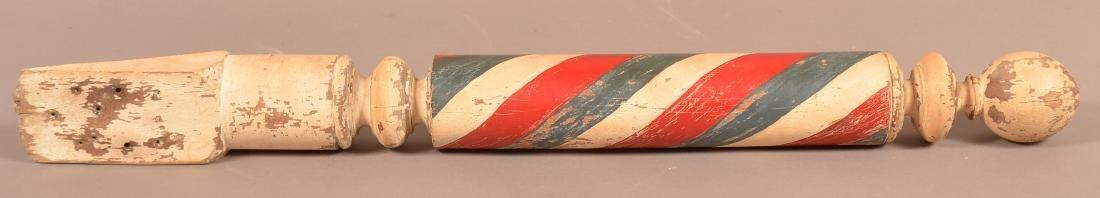 Vintage Turned and painted Wood Barber Pole. - 4