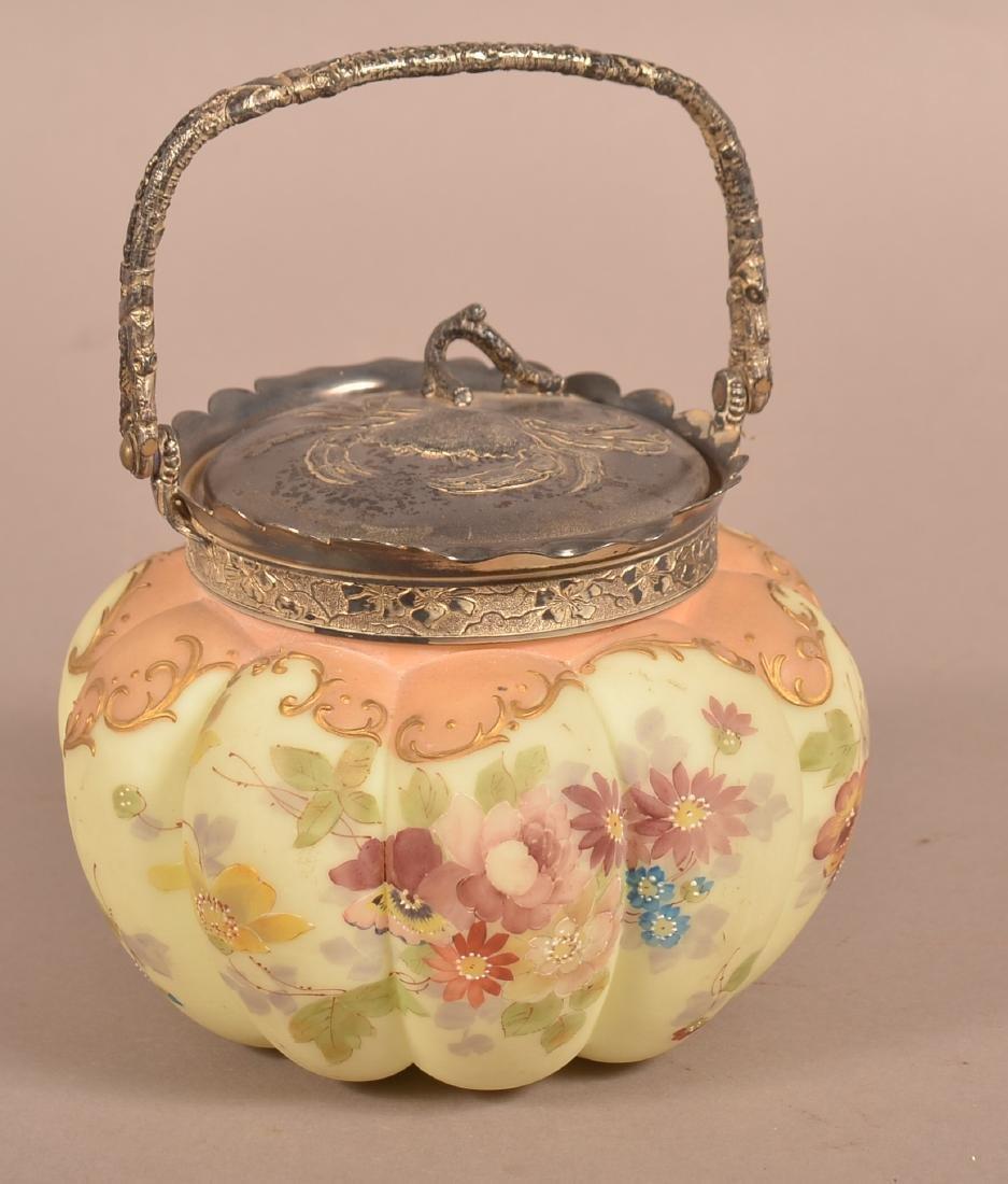 Wavecrest Type Floral Decorated Biscuit Jar.