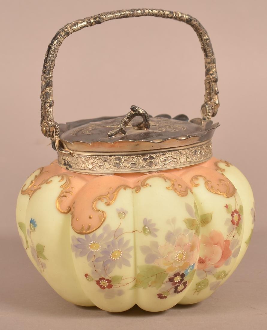 Wavecrest Type Floral Decorated Biscuit Jar. - 2
