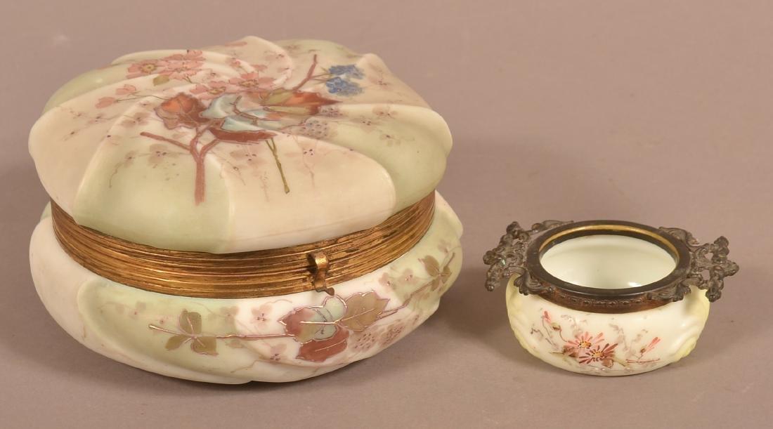 Wavecrest Opaque Glass Bureau Box and Pin Jar.