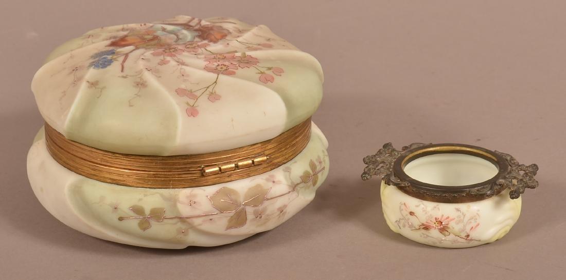 Wavecrest Opaque Glass Bureau Box and Pin Jar. - 3