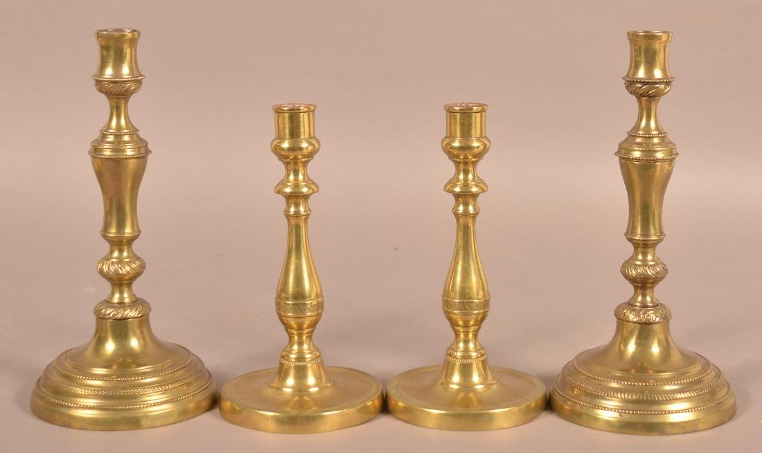 Two Pairs of 19th Century Brass Candlesticks.