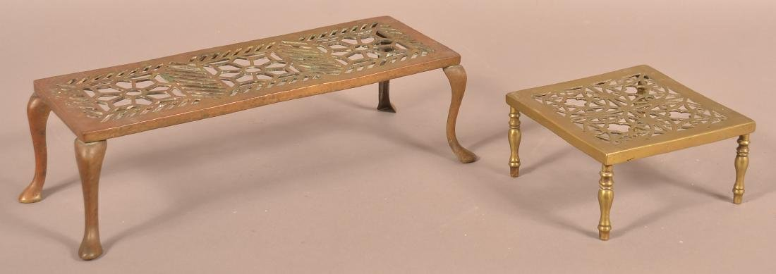 Two 19th Century Pierced Brass Hearth Stands.