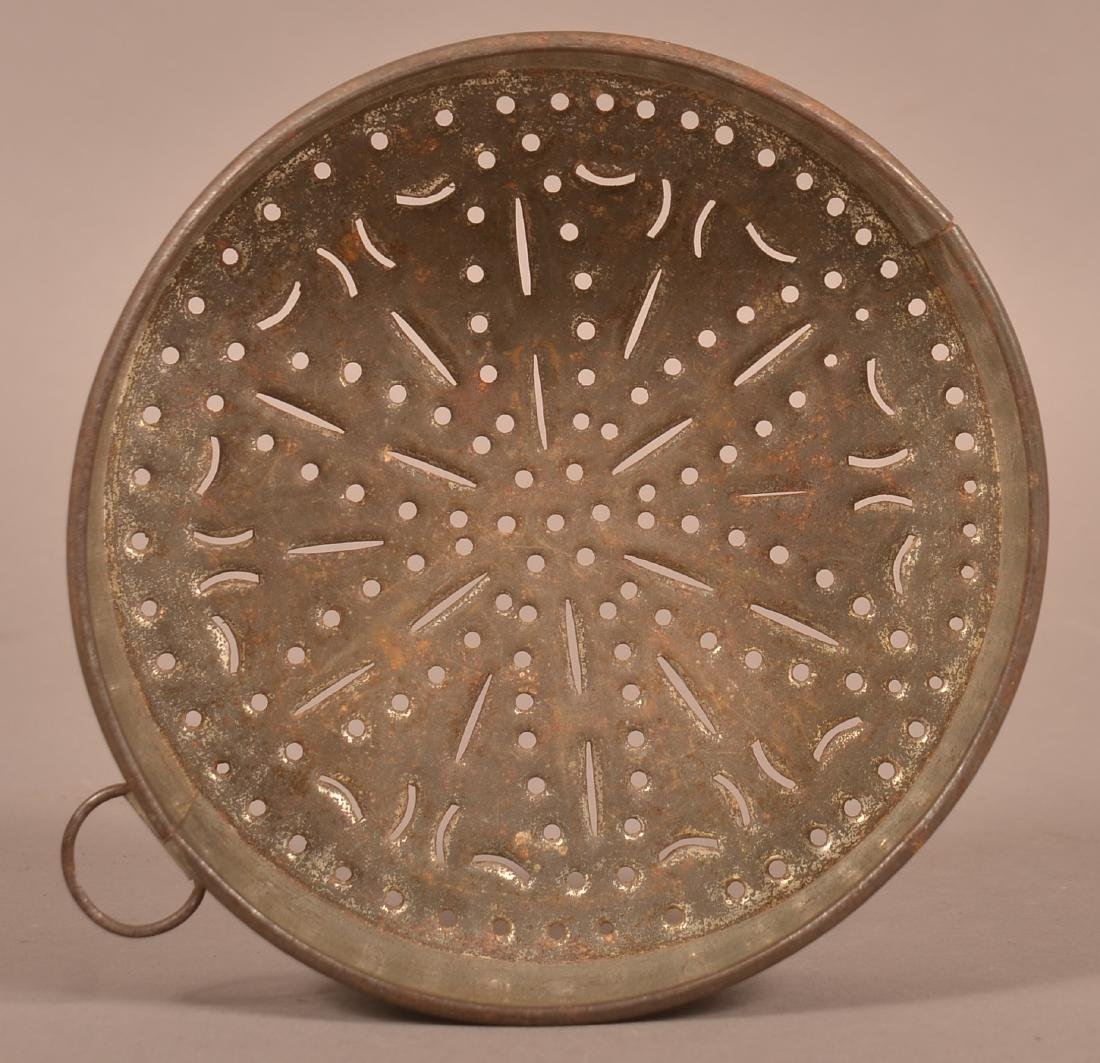 Antique Circular Punched Tin Cheese Mold.