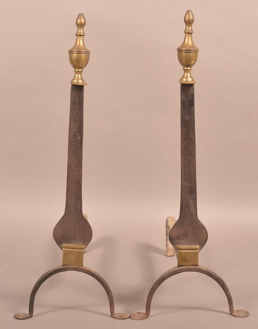 Pair of 19th Century Brass and Iron And Irons.