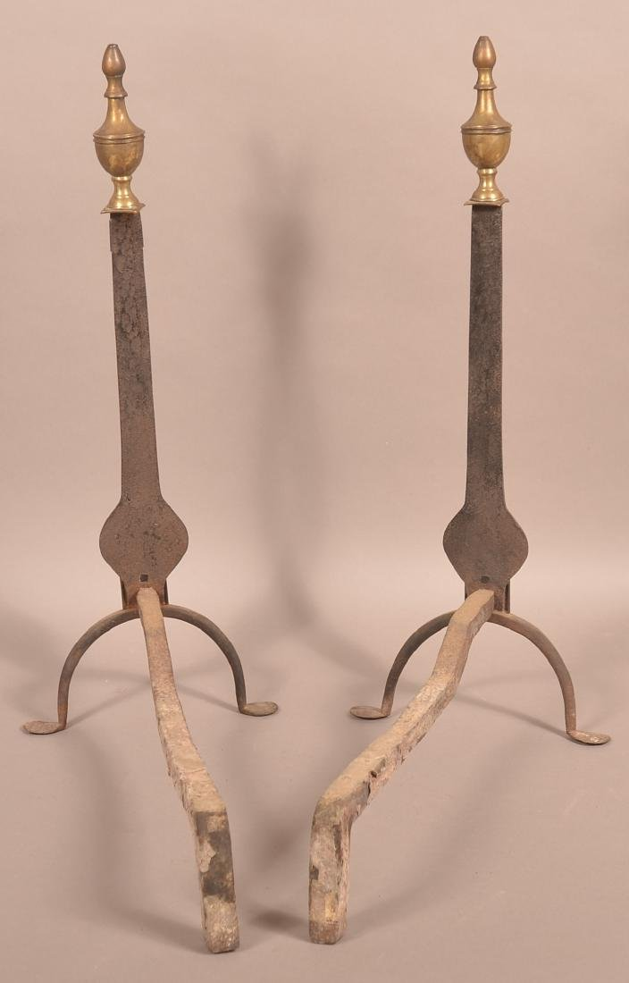 Pair of 19th Century Brass and Iron And Irons. - 2