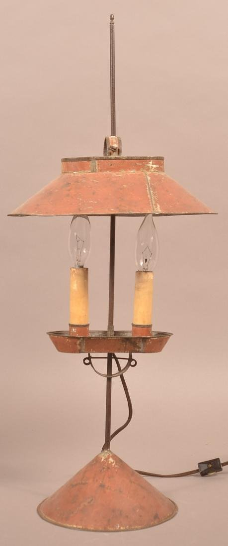 Jerry Martin Maroon Painted Tin Student Lamp.