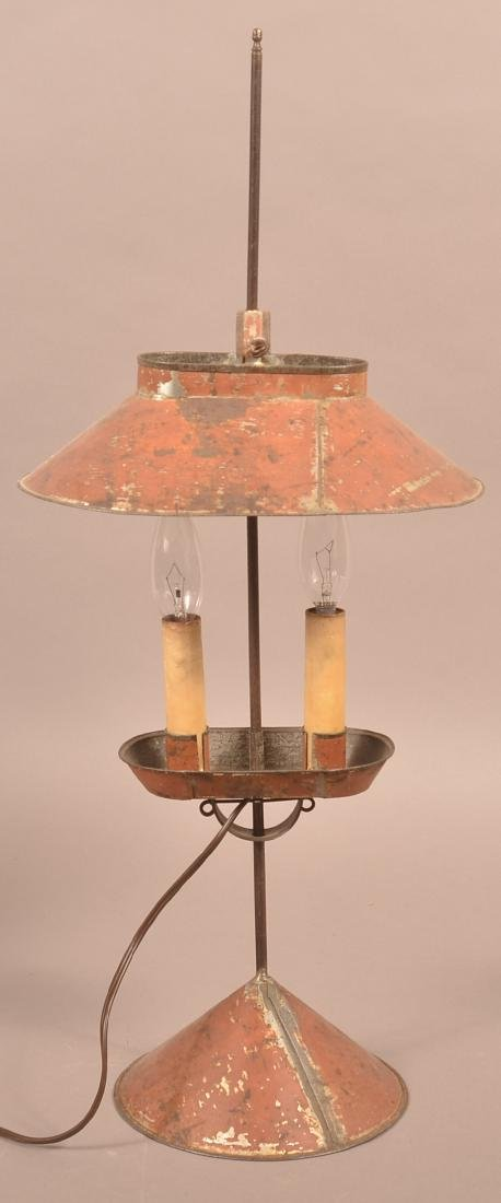 Jerry Martin Maroon Painted Tin Student Lamp. - 3