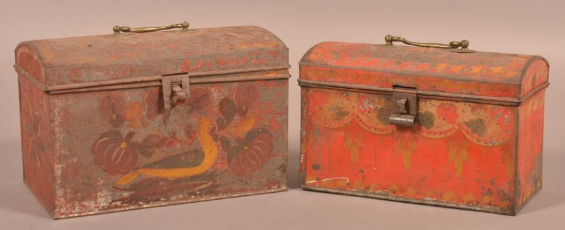 Two PA 19th Century Red Toleware Document Boxes.