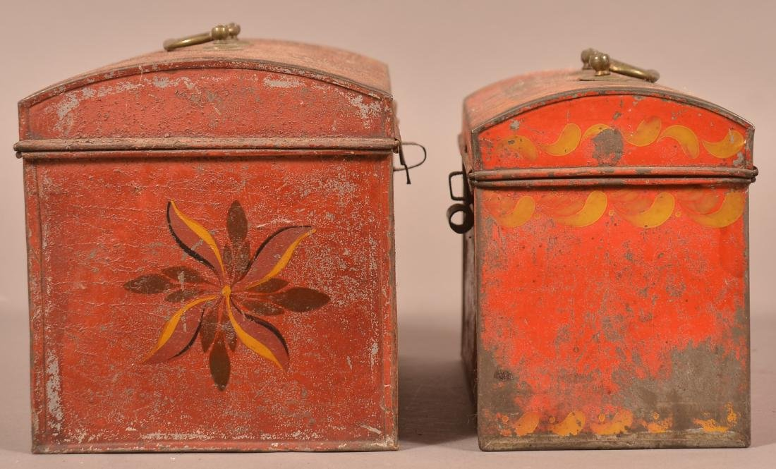 Two PA 19th Century Red Toleware Document Boxes. - 2