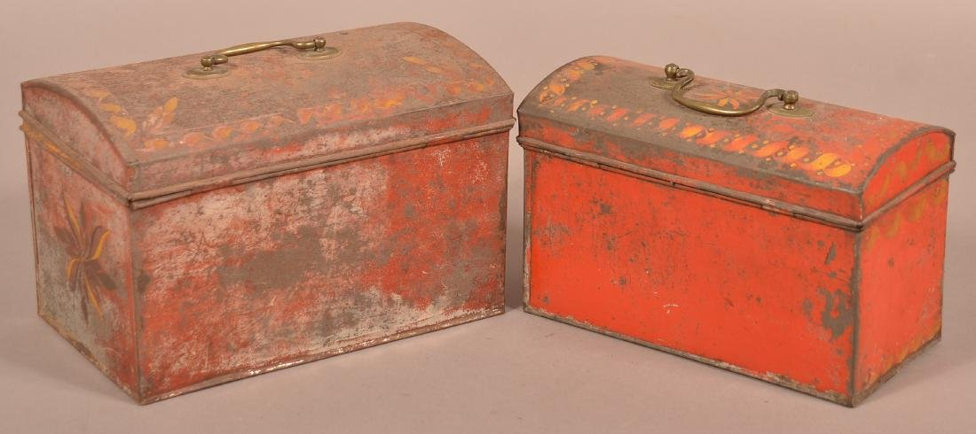 Two PA 19th Century Red Toleware Document Boxes. - 3