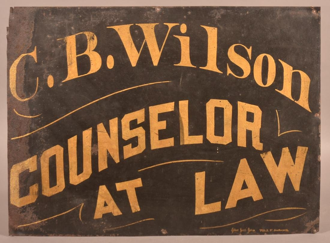 Antique Tin Single Sided Trade Sign with Gilt