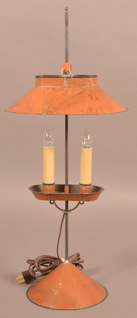 Jerry Martin Apricot Orange Painted Tin Student Lamp.