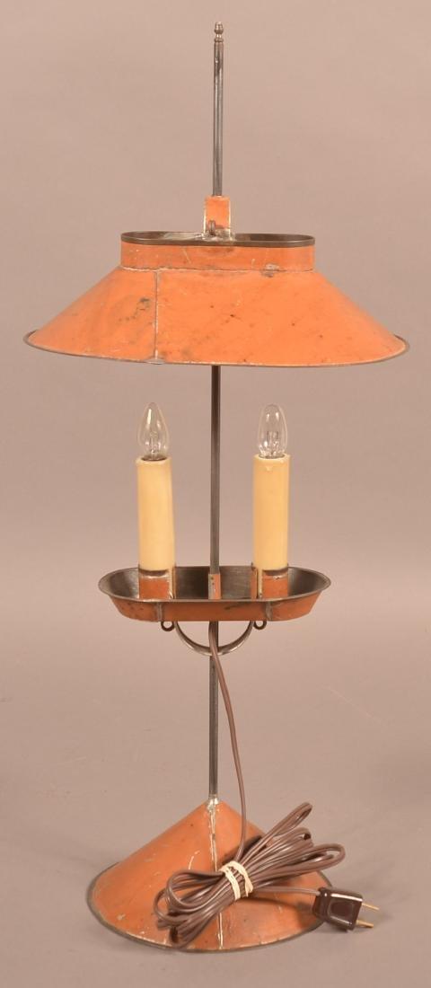 Jerry Martin Apricot Orange Painted Tin Student Lamp. - 3