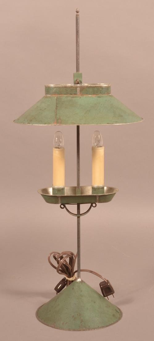 Jerry Martin Green Painted Tin Student Lamp.