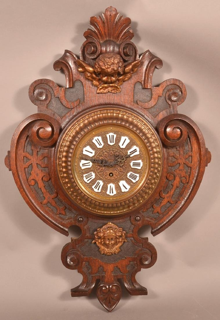 Unsigned Carved Oak Wall Clock.