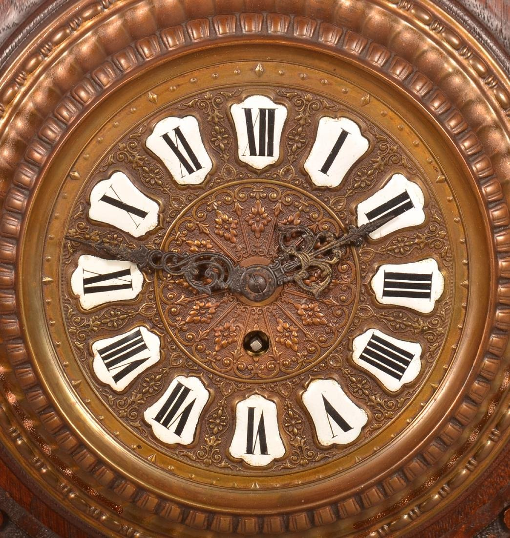 Unsigned Carved Oak Wall Clock. - 2
