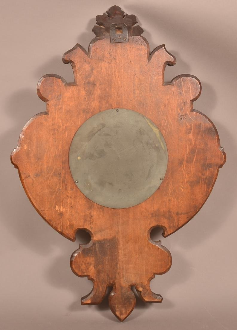 Unsigned Carved Oak Wall Clock. - 4