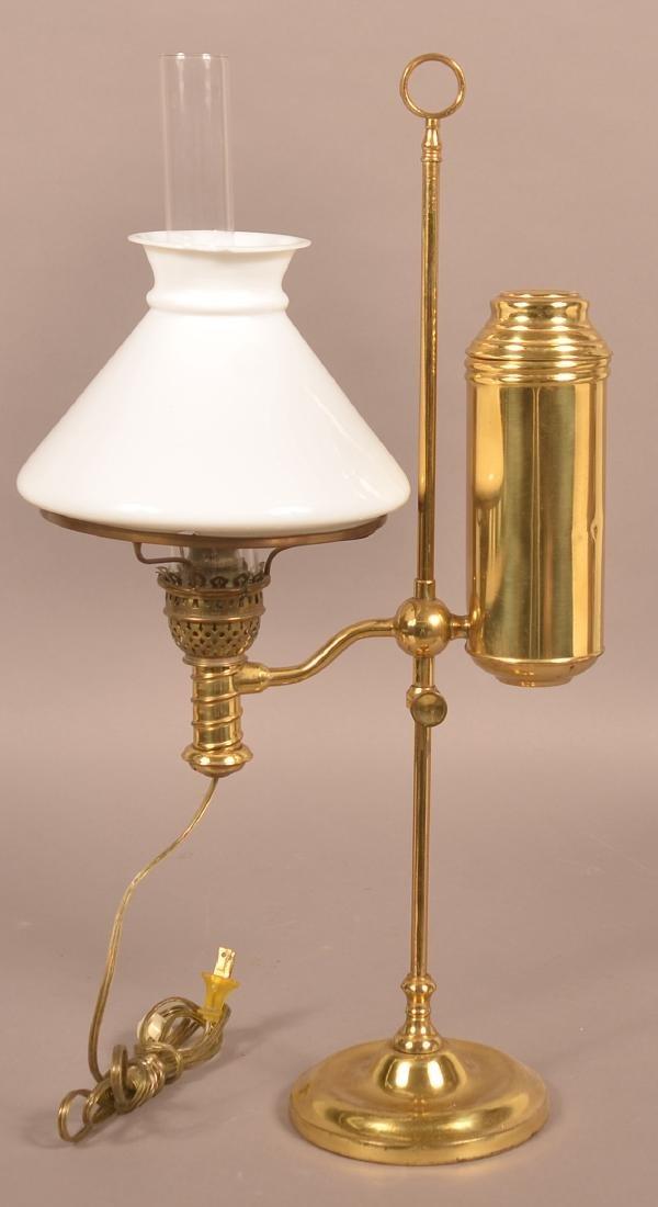Antique Brass Single Arm Student Lamp.