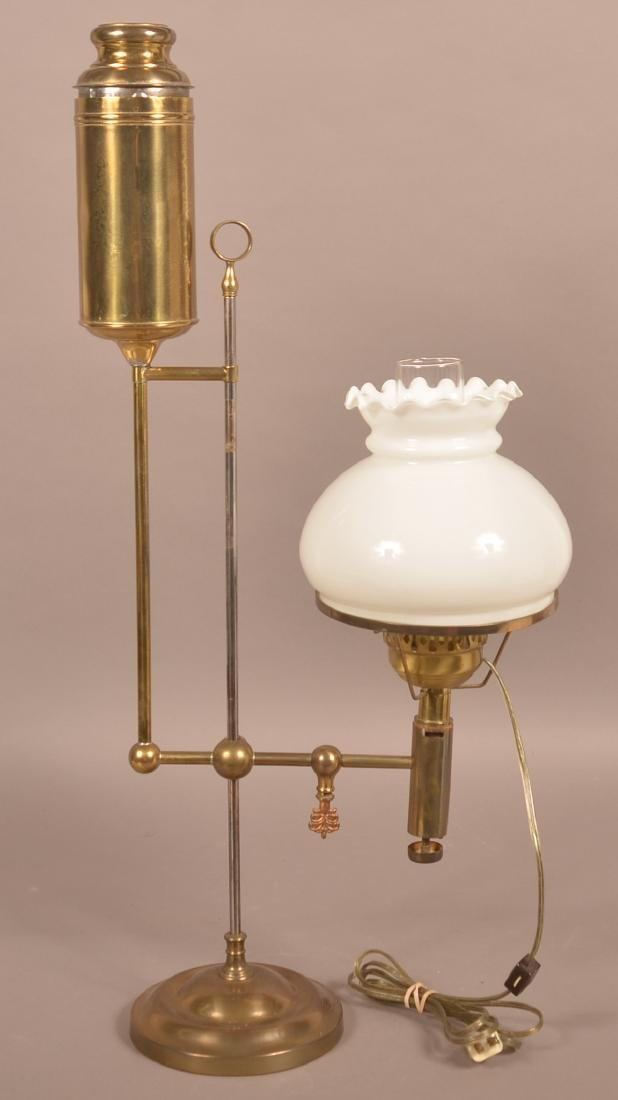 """Brass """"Improved Welsbach"""" Single Arm Student Lamp."""