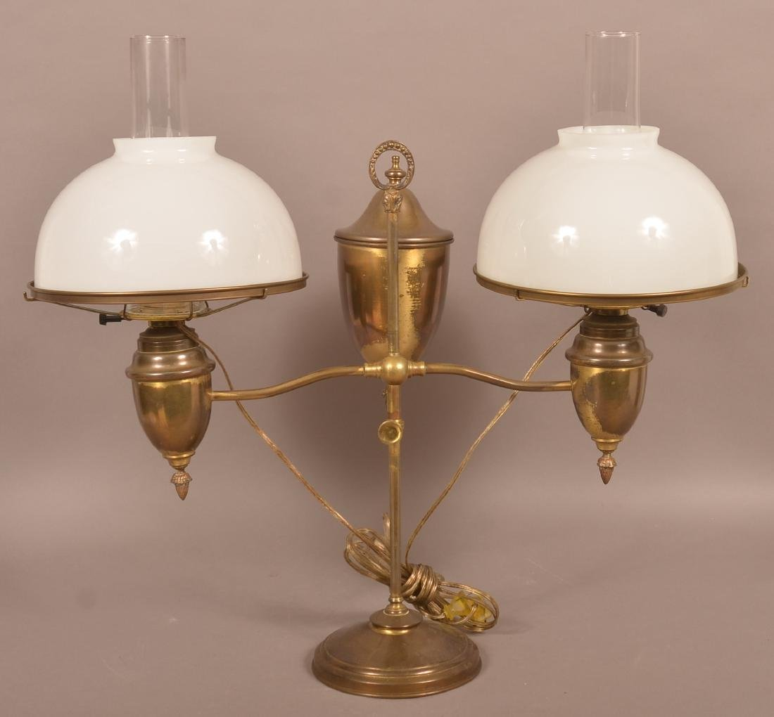 Antique Brass Double Arm Student Lamp.