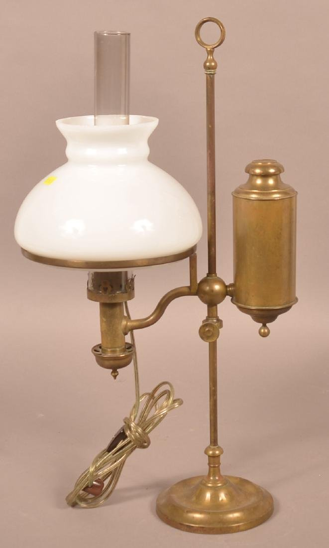Antique Brass Single Arm Student Lamp.