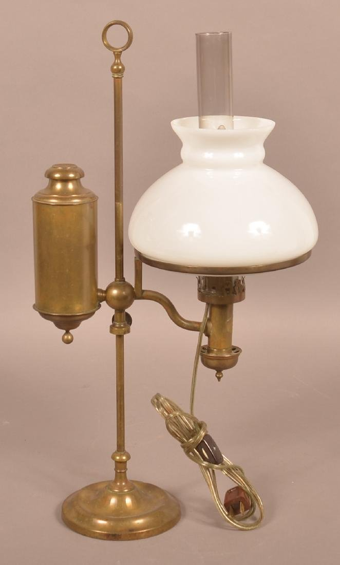 Antique Brass Single Arm Student Lamp. - 2