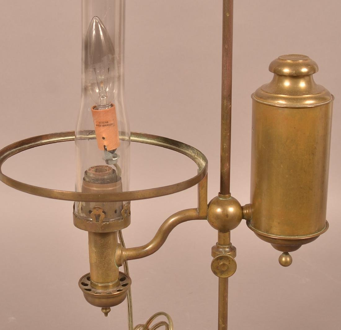 Antique Brass Single Arm Student Lamp. - 3