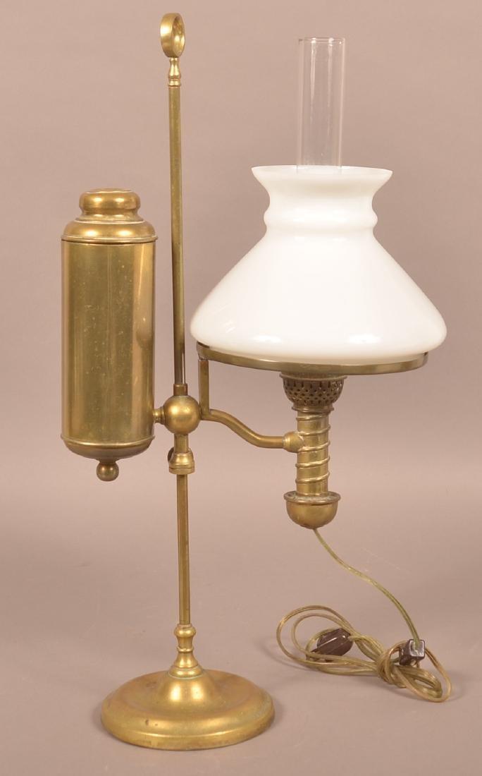 Antique Brass Single Arm Student Lamp. - 2