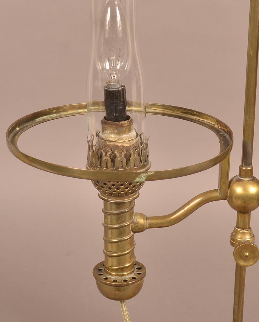 Antique Brass Single Arm Student Lamp. - 3