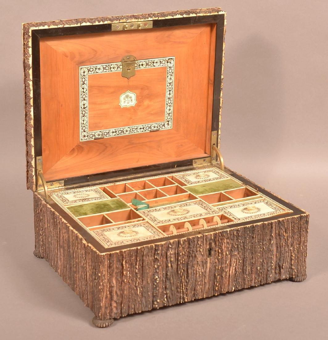 Mid 19th Century Antler Veneered Sewing Box.