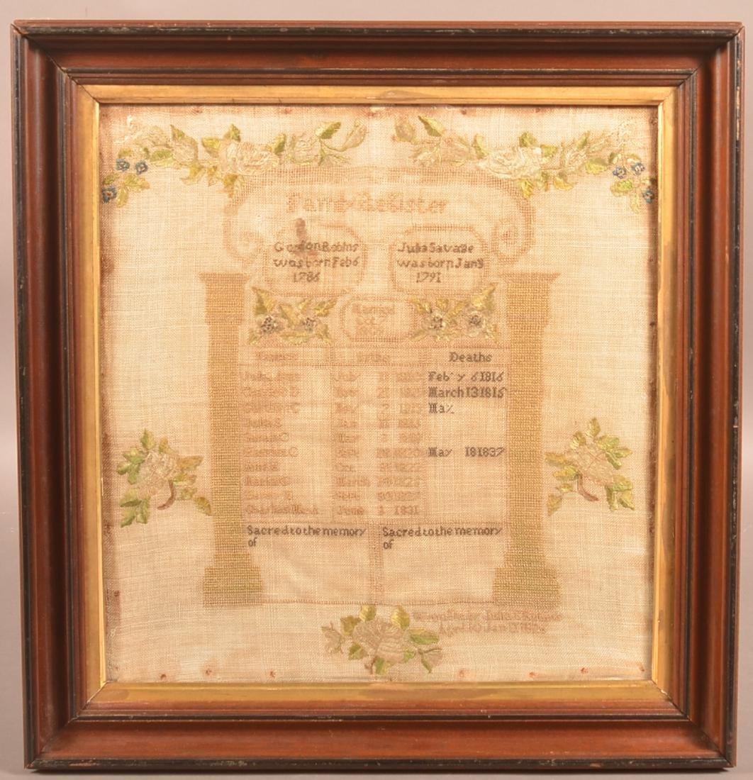 1826 Family Register Needlework Sampler.