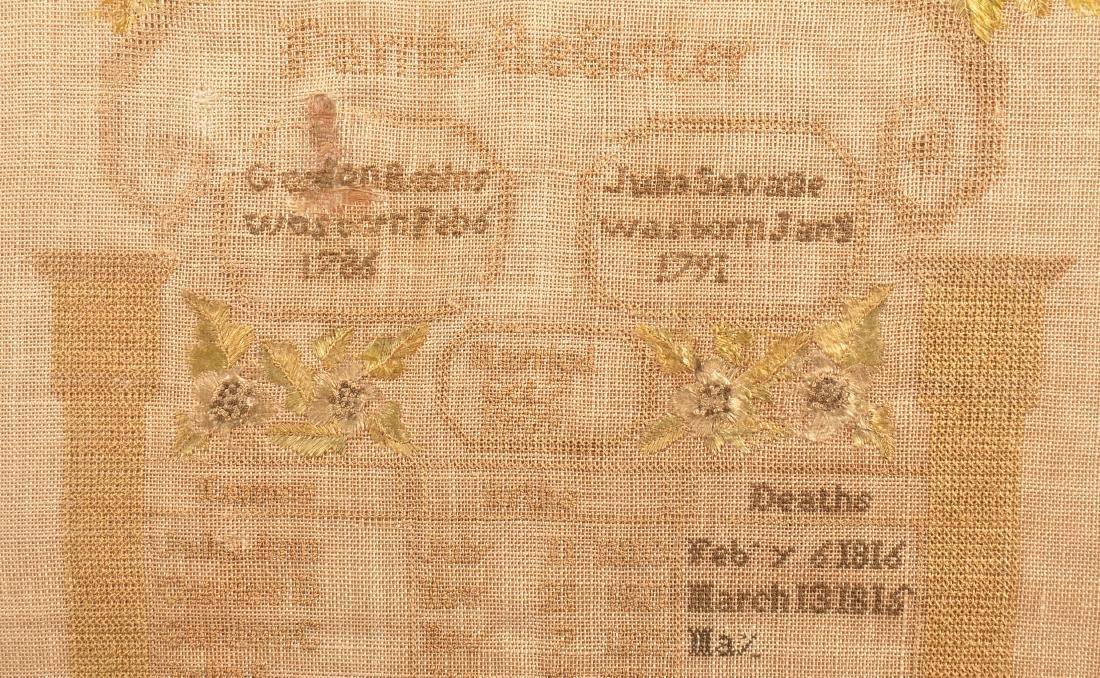 1826 Family Register Needlework Sampler. - 2