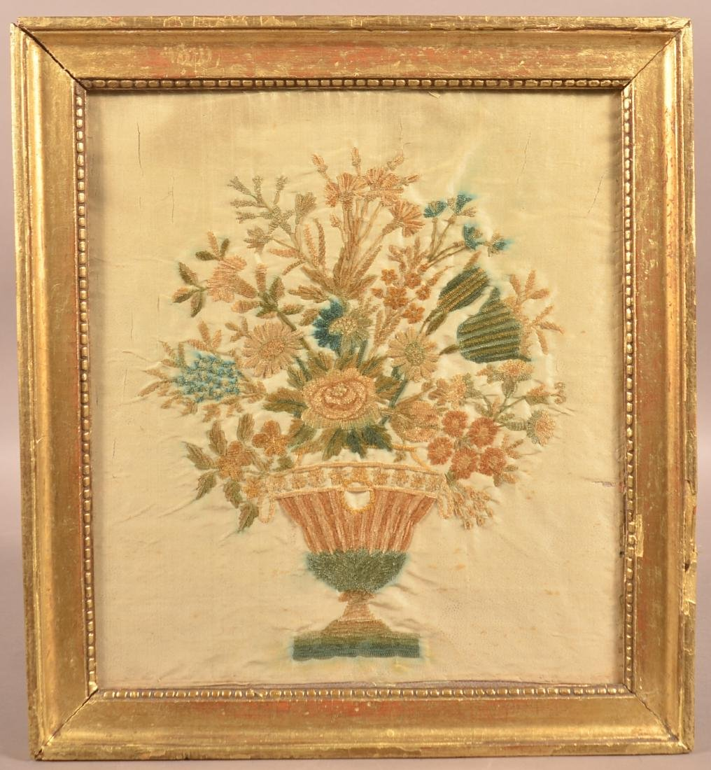 19th Century Silk Urn of Flowers Needlework.