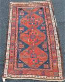 Antique Kazak Geometric Pattern Oriental Area Rug.