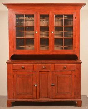 Somerset County Federal Dutch Cupboard With Red Paint.
