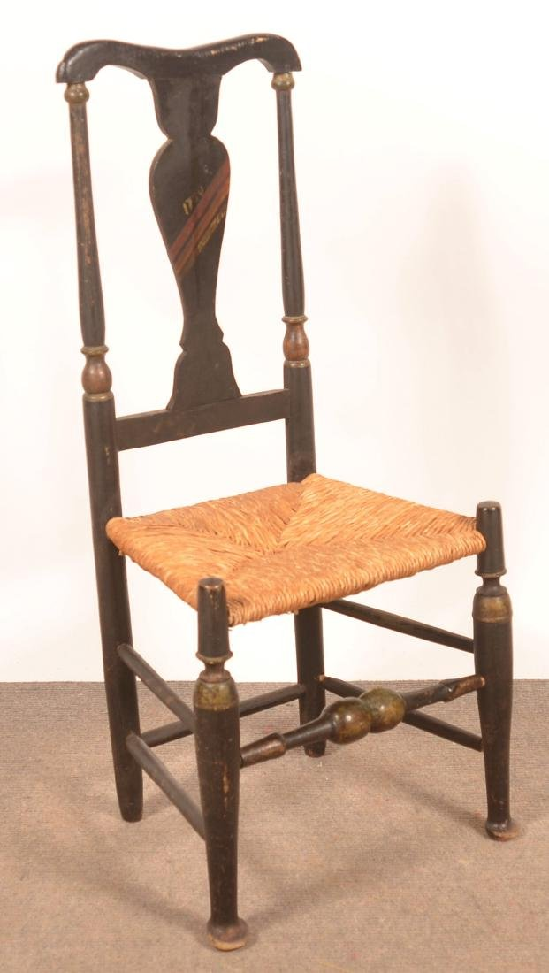 Queen Anne Paint Decorated Sidechair, Dated 1730.