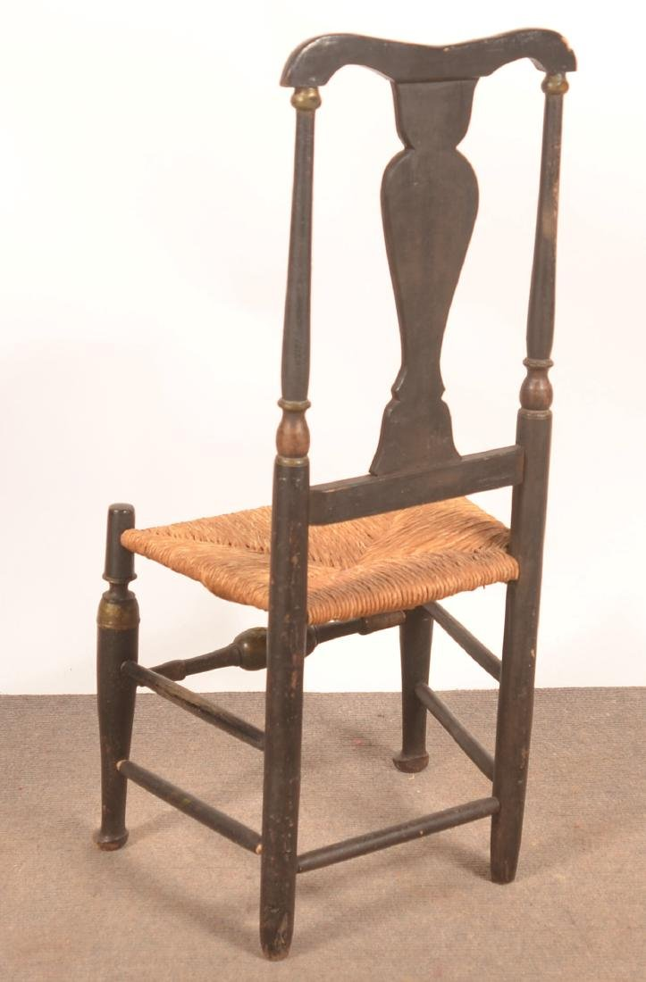 Queen Anne Paint Decorated Sidechair, Dated 1730. - 3