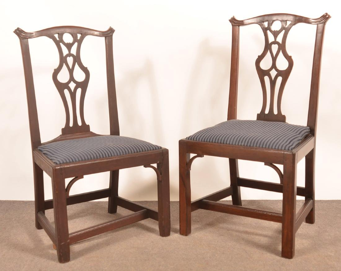 Pair of Chippendale Mahogany Sidechairs.