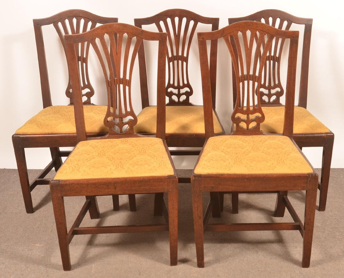 Set of Five Federal Mahogany Fan-back Dinning Chairs.