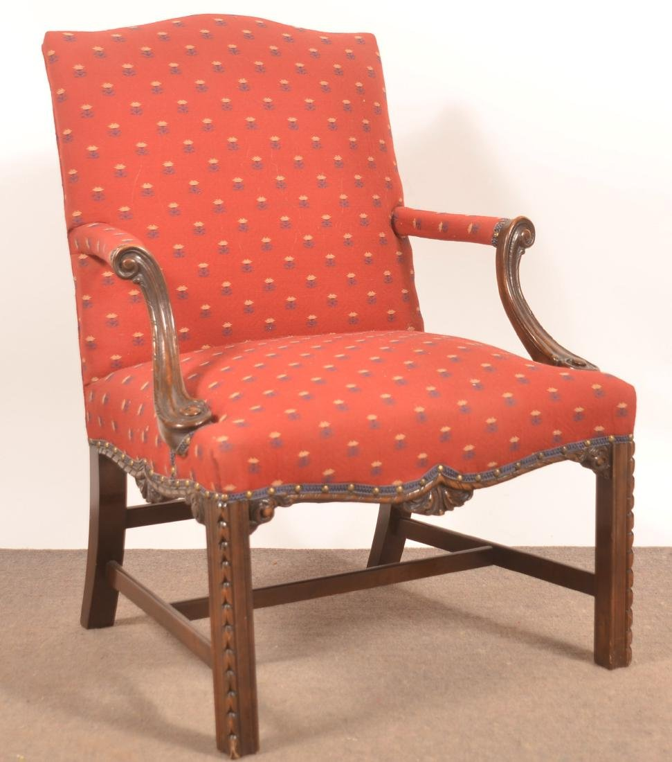 Chippendale Style Mahogany Carved Frame Armchair.