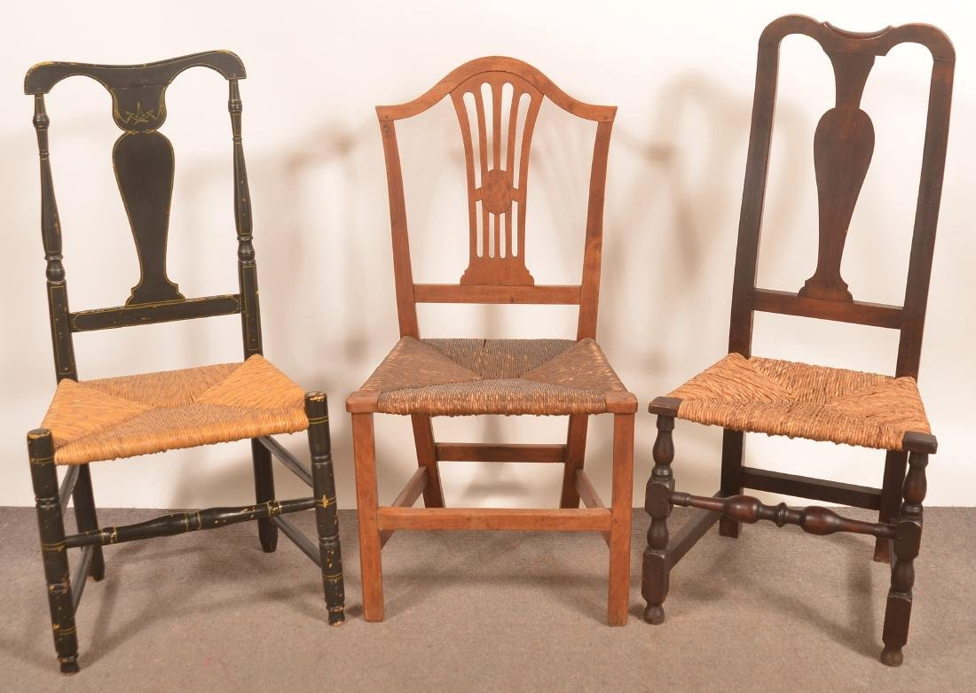 Three 18th and Early 19th Century Rush Seat Sidechairs.