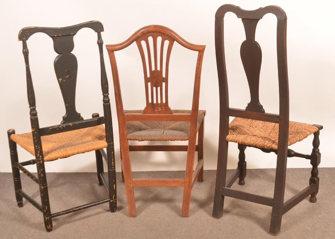 Three 18th and Early 19th Century Rush Seat Sidechairs. - 2