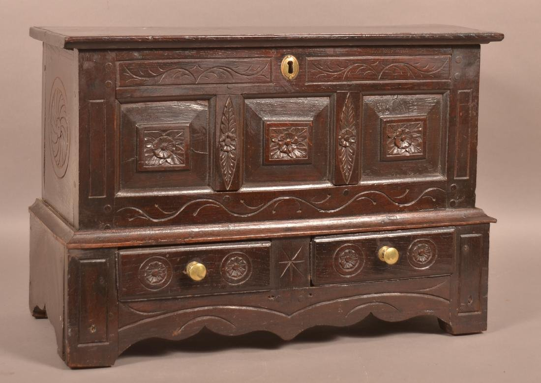 Antique Continental Oak Carved Miniature Blanket Chest.