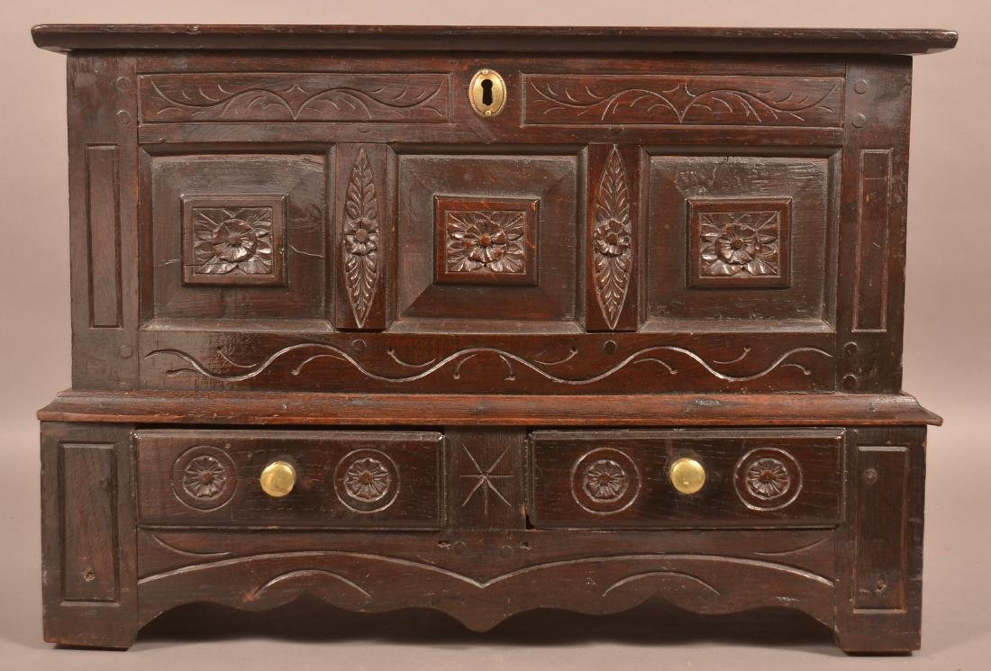 Antique Continental Oak Carved Miniature Blanket Chest. - 2