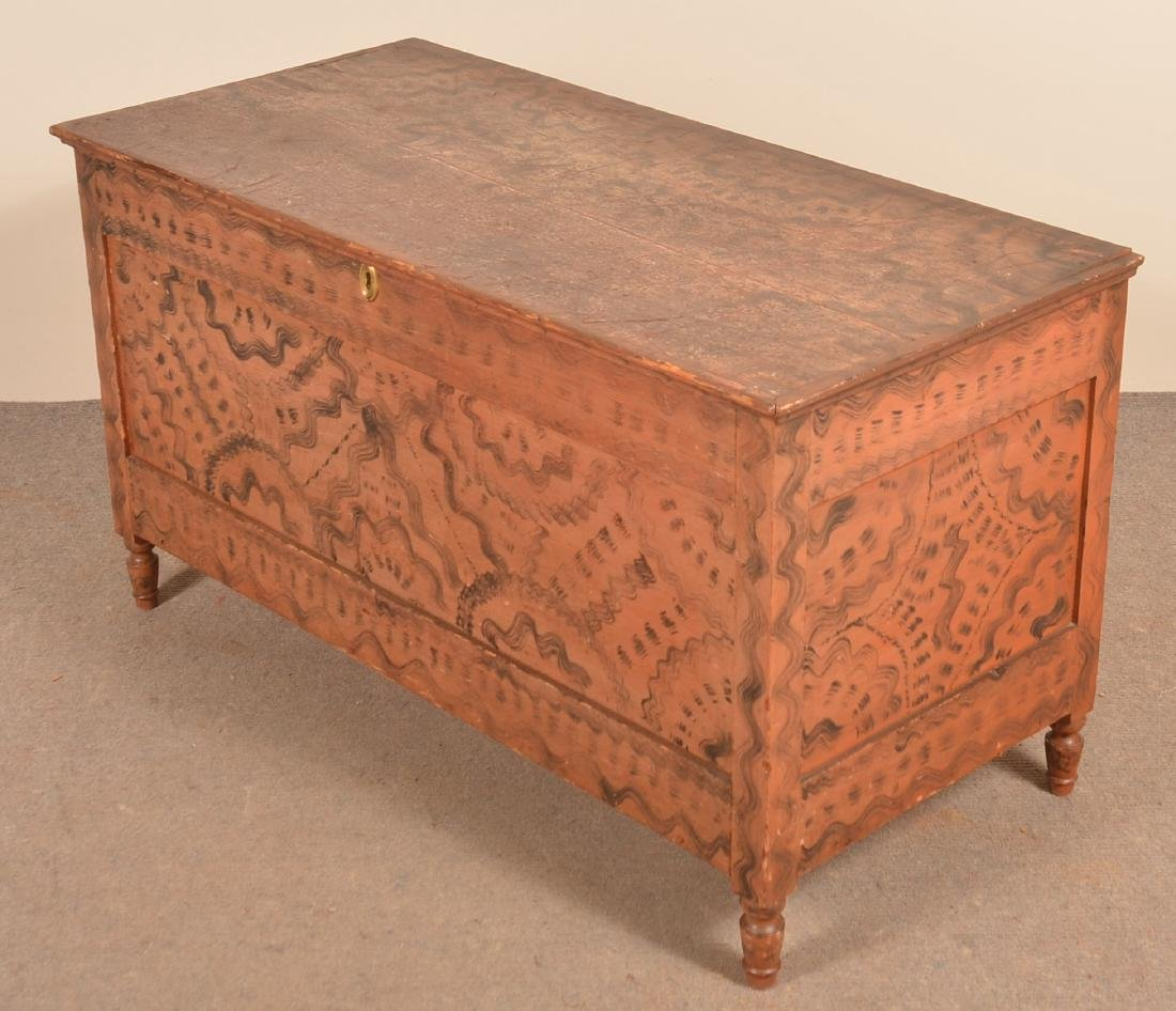 PA Sheraton Softwood Grain decorated Blanket Chest. - 2