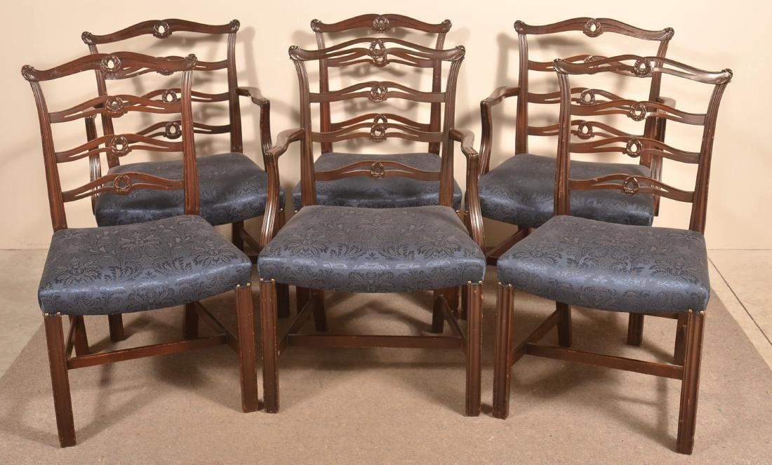 Set of Six Period Style Ribbon-back Dining Chairs.