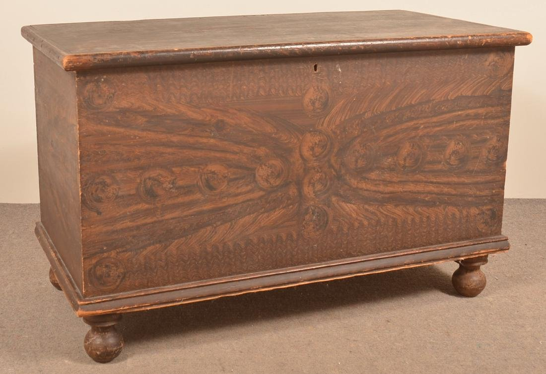 PA Grain Paint Decorated Softwood Blanket Chest.